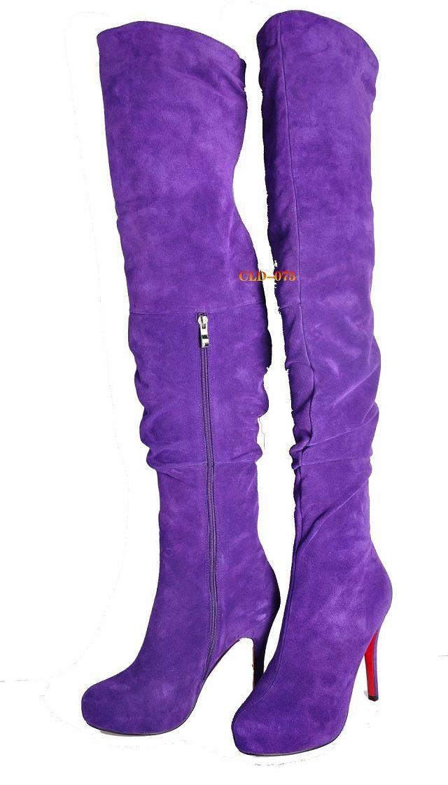 fashion winter purple suede genuine leather thigh high