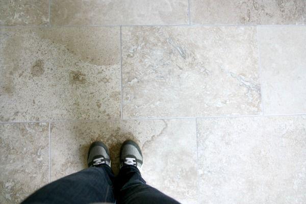 Travertine tile floor
