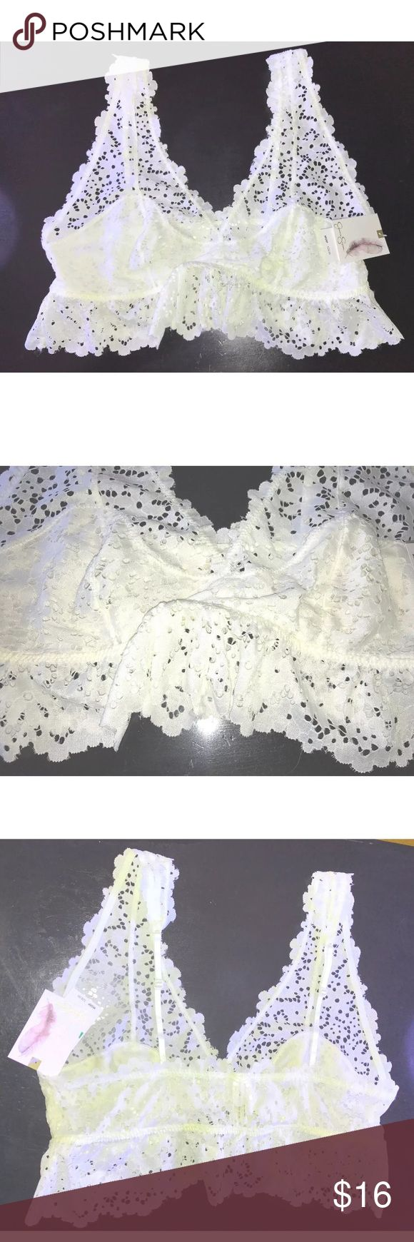 NEW Ivory Eyelet Ruffle Bralette NEW Jessica Simpson Ivory Eyelet Ruffle Triangle Bralette SIZE Large MSRP on tag is $28  Open eyelet fabric, the actual cup area is lined  Pull on style  Unpadded  Adjustable skinny shoulder straps  Size Large  88% Nylon. 12% Spandex  Thank you so much! Jessica Simpson Intimates & Sleepwear Bras