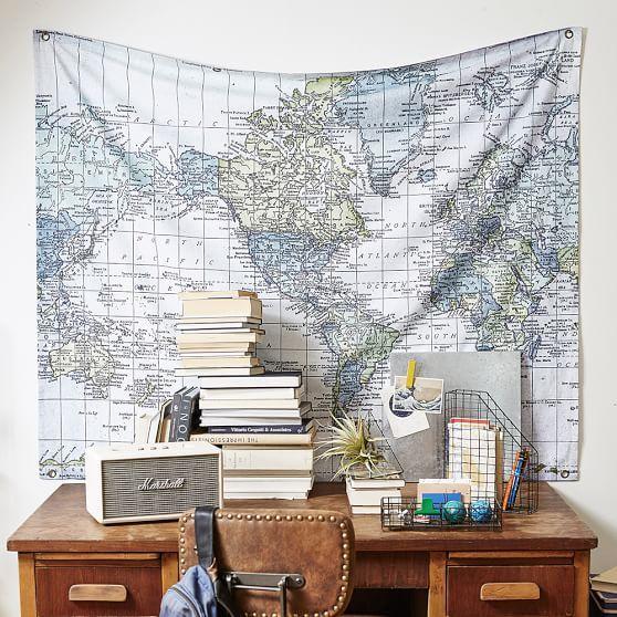 World Atlas Map Tapestry | PBteen