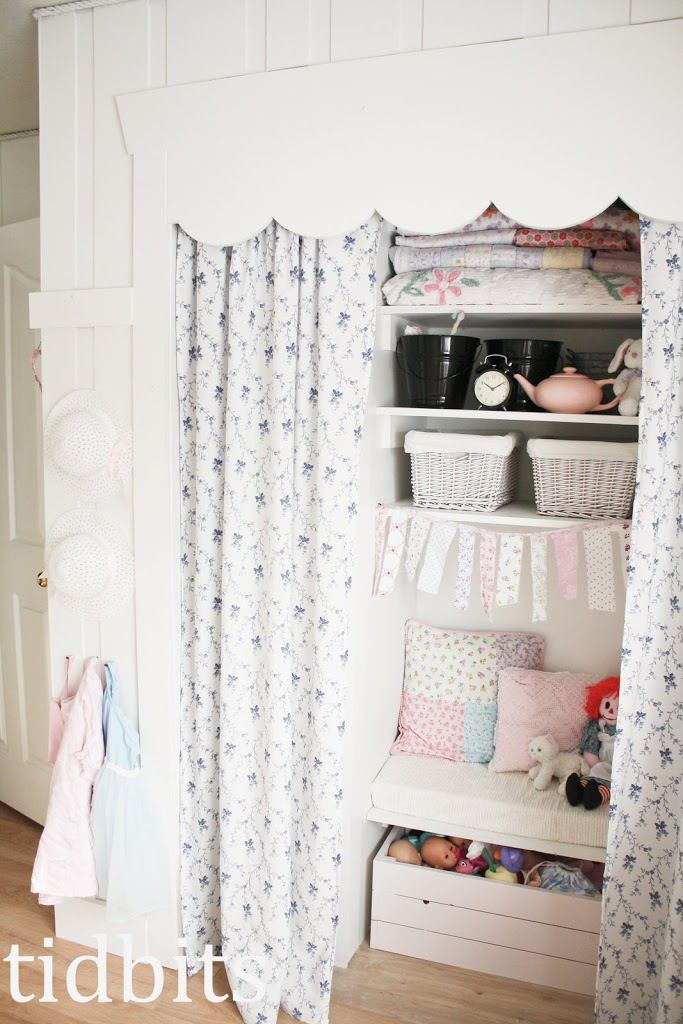 Remove closet doors and add curtains for easy and beautiful access to clothing. More inspiration to be found in this little girls shared bedroom.