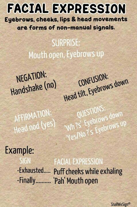 ASL Grammar: FACIAL EXPRESSIONS Note: NEGATION *head*shake, not *hand*shake.  :)