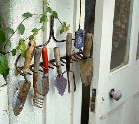 Cute & useful way to reuse a broken rake.