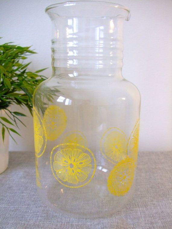 Vintage Yellow Pirex Lemonade Pitcher Water Carafe