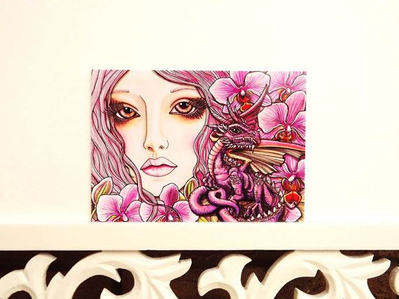 Postcard Art Print Beautiful Lady and Dragon by RaechelSaunders, $3.00