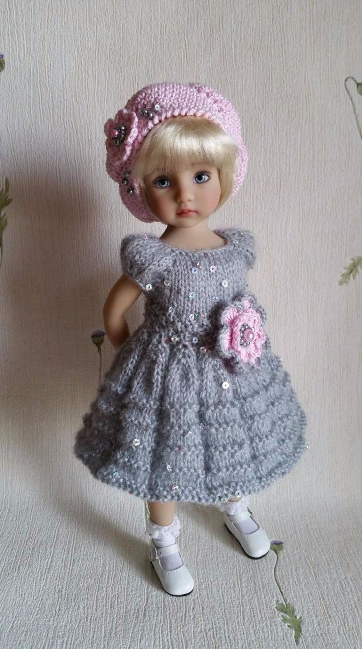 "Outfit ""Grey&Pink"" for dolls 13"" Dianna Effner Little Darling. 