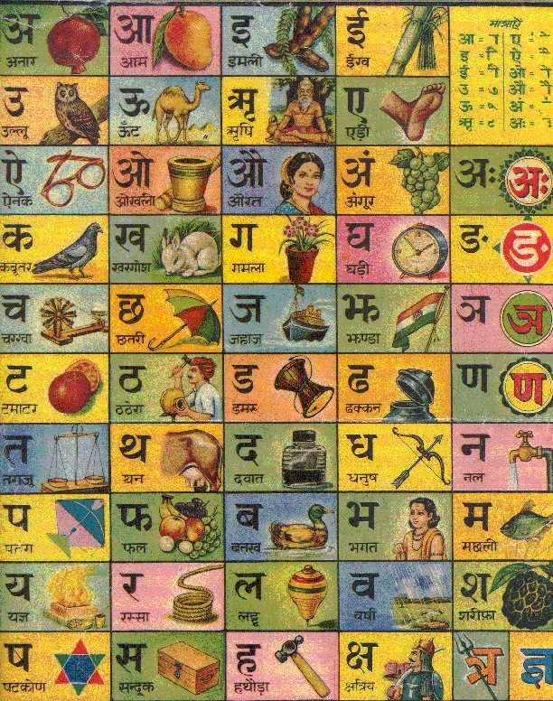 Hindi alphabet chart - My sassur taught me how to read and write by drawing pictures to associate with each of the letters.