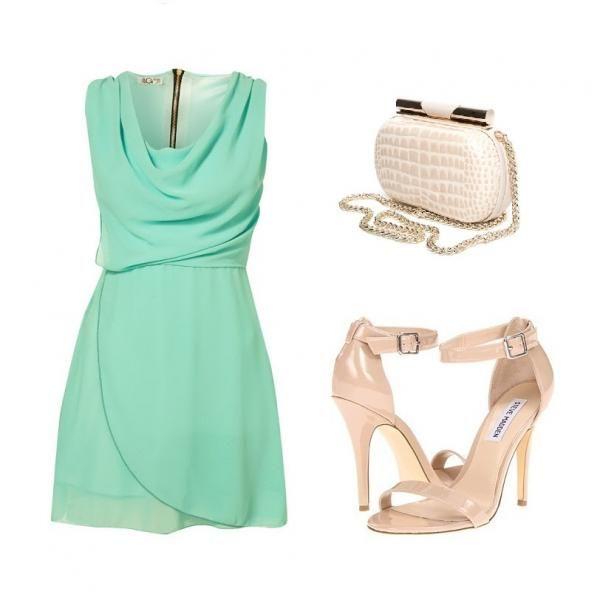 Vestido verde agua + nude