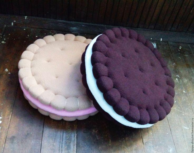 Купить Подушка-печенька с начинкой - коричневый, подарок, подарок девушке, подарок на день рождения