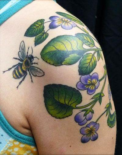 Bee Tattoo with beautiful flowers