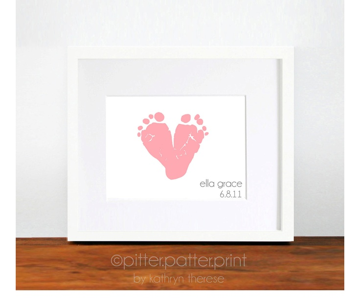 Gift for New Mom Pink Baby Footprint Heart by PitterPatterPrint