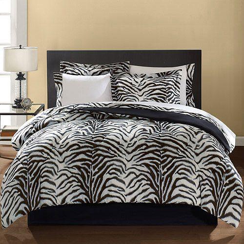 Mainstays Microfiber Zebra Print Bedding Set - Walmart.com