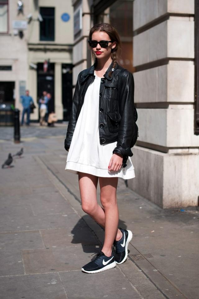 Sporty chic - nikes, mini dress, leather
