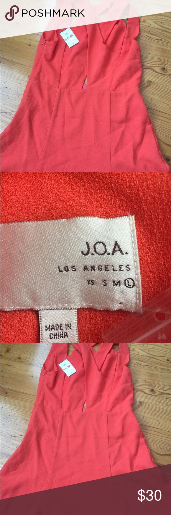 J.O.A Orange mini sun dress Sz Large New with tags, Length 34, chest 20, criss  cross cut out , coral orange, mini dress. J.O.A Dresses Mini