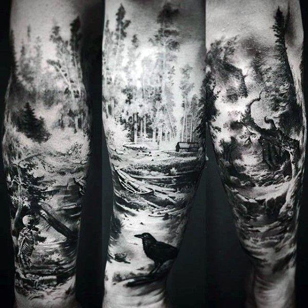 Afbeeldingsresultaat voor forest tattoo upper arm