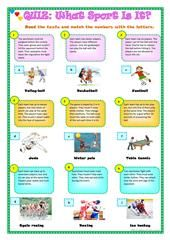SPORTS – VOCABULARY worksheet – Free ESL printable worksheets made by teachers