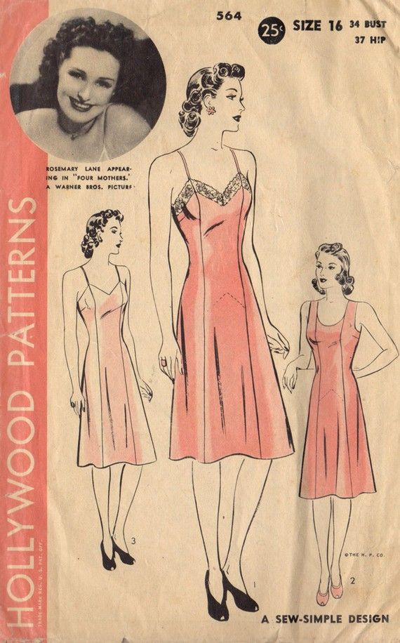 Vintage 1940s Hollywood Patterns 564 Rosemary Lane Princess Slip... This reminds me of when I was little and my Oma used to sew me dresses.