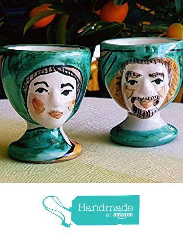 Portauovo in ceramica . Teste porta uovo in ceramica. Accessori da tavola. Le ceramiche di Ketty Messina . da Le ceramiche di Ketty Messina https://www.amazon.it/dp/B06XSH8BMS/ref=hnd_sw_r_pi_dp_lpO0ybPPA2S8G #handmadeatamazon