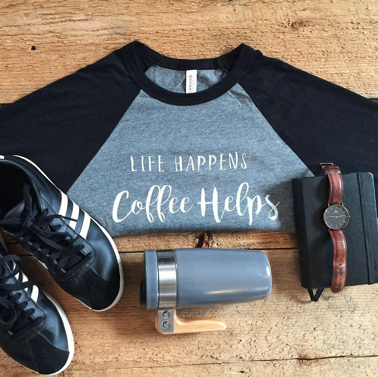 Baseball tee for the coffee lover #style #tshirt #shopping #fashion  #clothing
