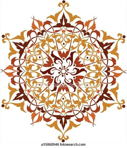 Clip Art of Burgundy, orange and red leaf pattern Design Ornament