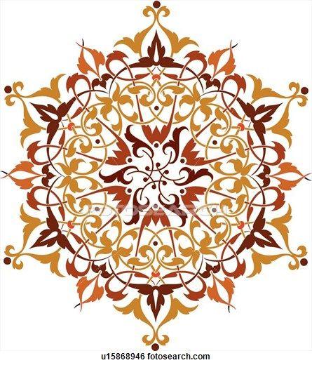 Clip Art of Burgundy, orange and red leaf pattern Design Ornament