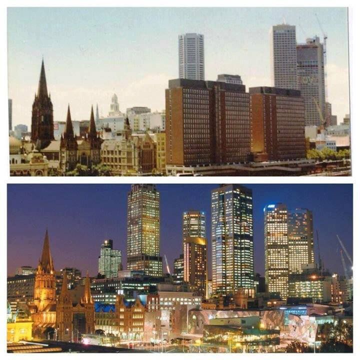 """Federation Square Melbourne (then & now) – Premier Jeff Kennett (1994) ''It is symbolic that we will be in a position in just 2 years to get rid of these towers which most Victorians regard as a dreadful eyesore, a blot on the city."""" Kennett said they effectively cut the city off from its waterways, overshadowed Flinders St Station and the historic Princes Bridge, obstructed the view across the gardens (eastern side of the Yarra) & a barrier between the city & its great boulevard, St Kilda…"""