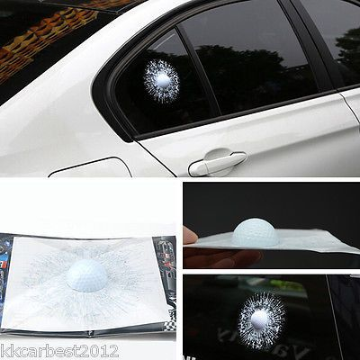 Car 3d #white golf ball hit #stickers #windshield glass body adhesive decals crac,  View more on the LINK: http://www.zeppy.io/product/gb/2/322382459445/