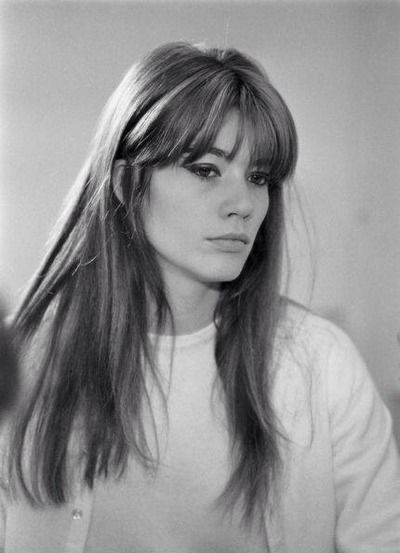 françoise hardy. Her fringe is medium-full, tapered from lash length to cheekbone length, usually worn parted. Suits her high forehead and long rectangular face shape.