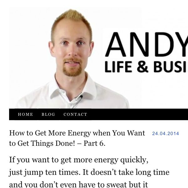 How to Get More Energy when You Want to Get Things Done! – Part 6.  If you want to get #more energy #quickly, just #jump #ten times. It doesn't take #long #time and you don't even have to #sweat but it #mobilizes your energy. So if you want to get more energy and #want to get things done, jump around!  #inspiration #motivation #dreams #goals #change #challenge #energy #life #flow #free #freedom #winning #gettingthingsdone #selfhelp #succees #coaching  http://AndyHopi.com