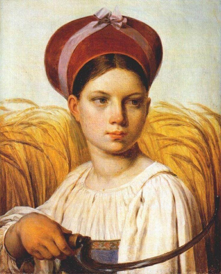 """Венецианов А.Г. """" Жница"""". Жница. Картина написана в 1820-е"""
