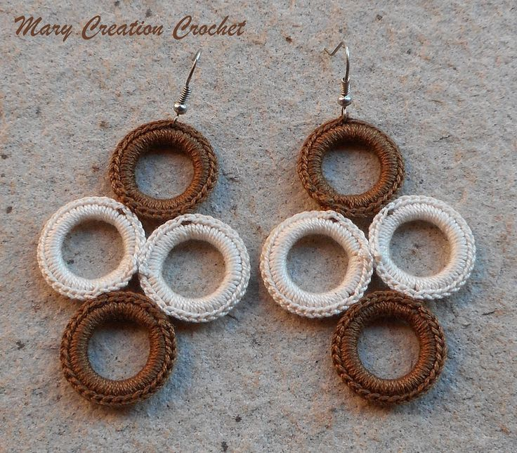 Orecchini 4 cerchi all'uncinetto in cotone beige e marrone di MaryCreationCrochet su Etsy