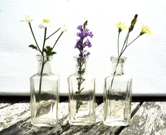 Vintage Glass Bottles 3 Small Apothecary or Scent by APureVintage, £6.00