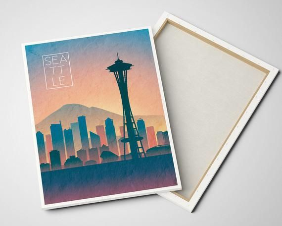 Print On Canvas Seattle Washington Day Skyline Wall Art Ready Etsy Canvas Wall Art Poster Pictures Wall Art