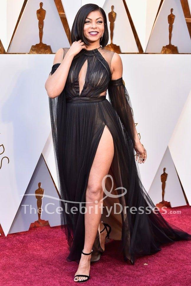 5277e61d4  TarajiHenson  2018Oscars  BlackDresses  TulleDreses  EveningDress  Celebrity Red Carpet Gown -  CelebrityDresses