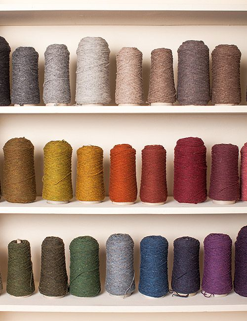 """Jared Flood, the founder of the yarn and knitwear company Brooklyn Tweed. """"My wall of Loft yarn — a cone of each of the 32 colors in our palette. I use this as my """"paintbox"""" when putting together color stories for collections or combining colors within a design."""""""