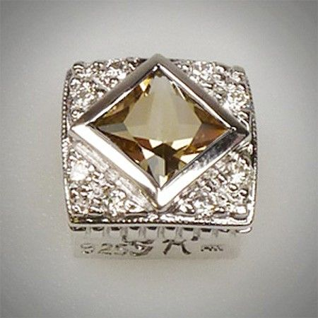 6/6 Princess Cut Square Citrine Champ & Diamond .18Ct