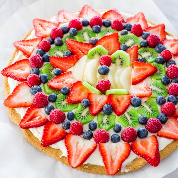 Fruit Pizza with Cream Cheese Frosting FoodBlogs.com