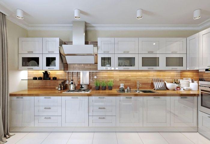 1001 Modeles Fascinants Du Duo Cuisine Blanche Plan De Travail Bois Modele De Cuisine Moderne Plan De Travail Bois Cuisine Moderne