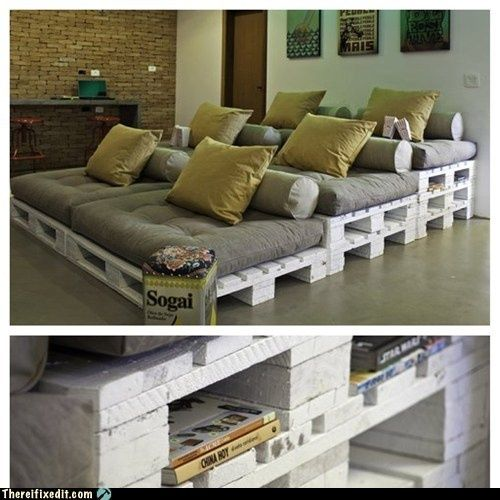 i love the idea of using pallets as furniture and for furniture leverage.  Great for movie/tv room that is small and y'all can sit or lie down just need tables on side!