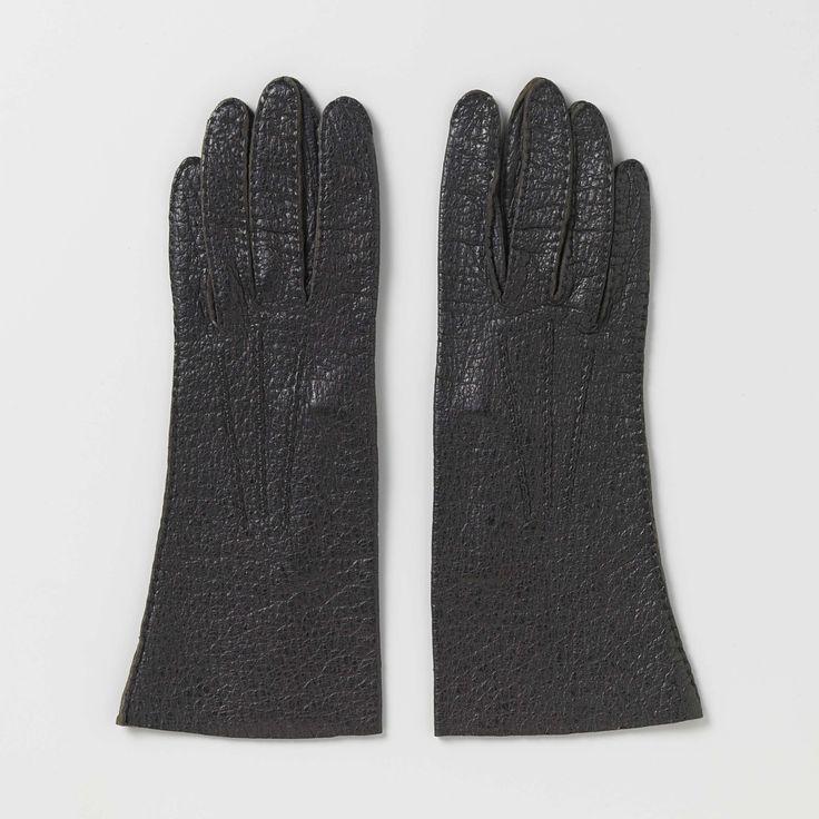 Handschoen van zwart leer, Maison de Bonneterie, ca. 1900 - ca. 1915