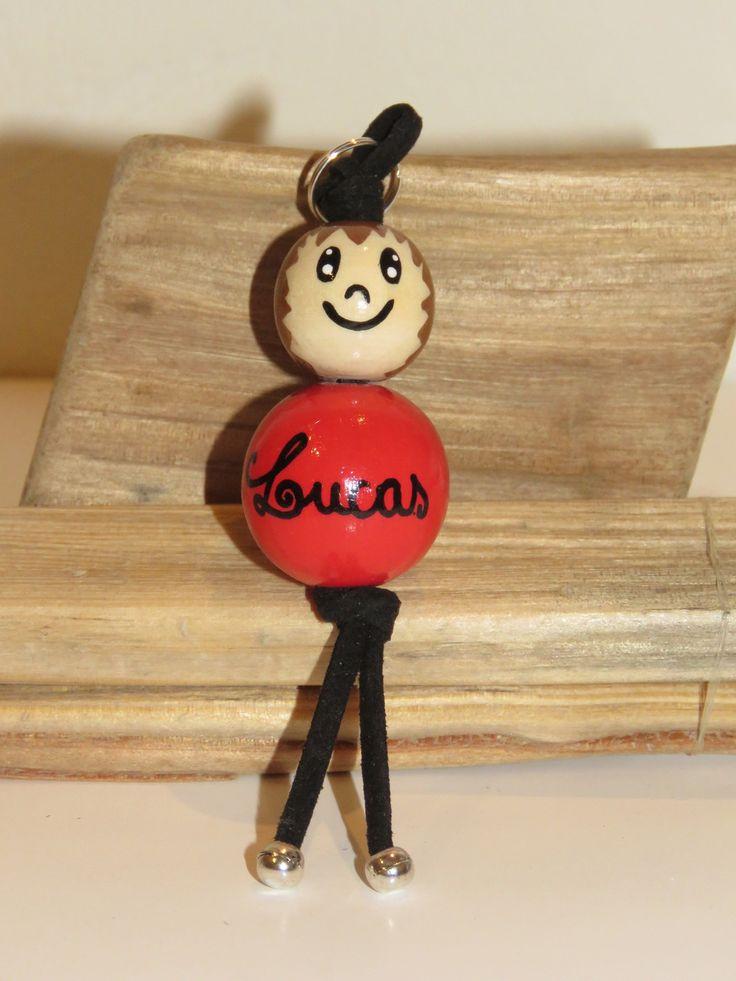 """Porte clé en perles de bois ou bijou de sac """"billes de sourires"""" figurine entierement peinte à la main et personnalisable : Porte clés par pimprenelle-coccinelle-creations"""