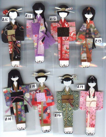 FANCY Anesama Origami Ningyo Kimono Paper Dolls -Premade! ready-to-use!