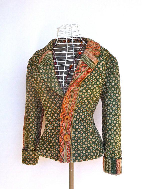 green Kantha winter jacket