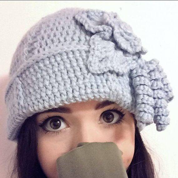 Pastel Light Blue Women's Crochet Hat Pattern Winter Or Cold Season Hat With Flower