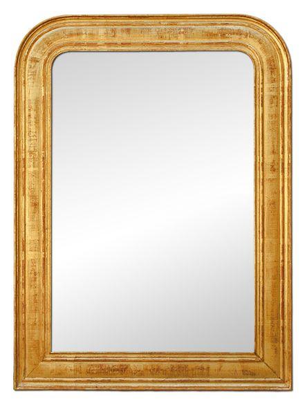 Glace miroir ancien doré style Louis philippe, miroir Manufacier Auxerre