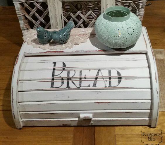 Turn an old bread box into a Farmhouse Style Bread Box using chalk paint.  www.raggedy-bits.com