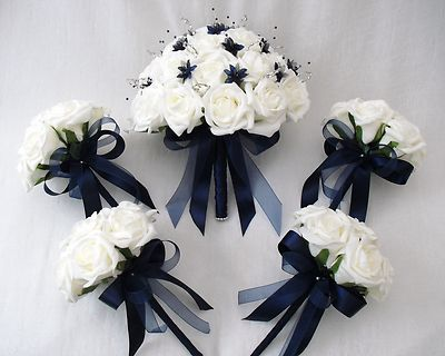 Wedding Flowers Brides With 4 Bridesmaids Posy Bouquets In Ivory Navy Blue