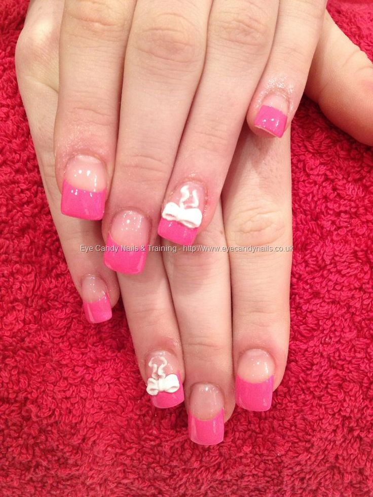 Pink tips with white 3D acrylic bow nail art