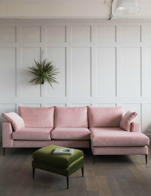 Epsom Velvet Corner Sofa Corner Sofa Pink Sofa Living Room Flooring