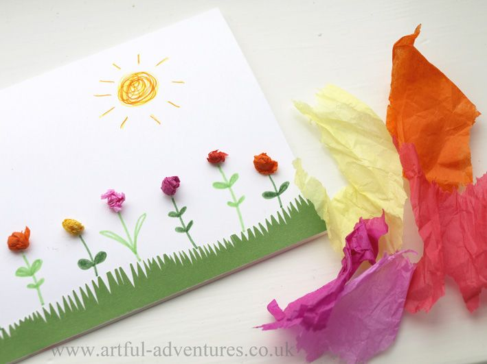 """Simple card made with tissue flowers. This would be a great """"make with kids"""" project."""